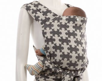 SALE 30% OFF Meh Dai (Mei Tai) - Daiesu Jigsaw Black - Mei Tai Toddler Carrier - Wrap Conversion - infant to Toddler, travel carrier