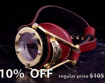 Steampunk Goggles Victorian Goth Brass Monocle Brown LARP Cosplay
