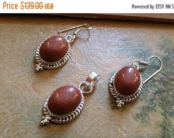 Holiday SALE 85 % OFF Sunstone   .925 Sterling Silver  Natural Gemstone Pendant