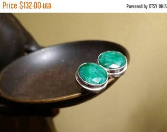 Holiday SALE 85 % OFF Emerald Sterling silver Stud Post Earrings Gemstone  .925