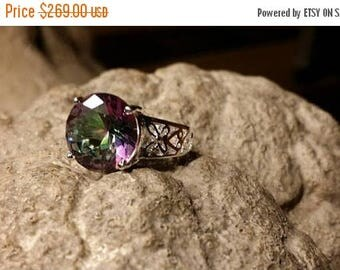 Holiday SALE 85 % OFF Mystic Topaz Size 7 Ring Gemstone. 925 Sterling  Silver