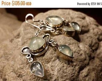 Holiday SALE 85 % OFF Prehnite Earrings Tribal Ethnic Gemstone  .925 Sterling  Silver