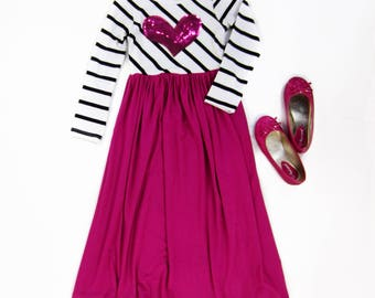 girl valentines day pink maxi dress with heart maxi dress girls maxi dresses