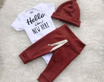Hello I'm New Here, Hello I'm New Here Onesie, Hello I'm New Here Outfit, Hello World Newborn Outfit, Coming Home Outfit Baby Boy