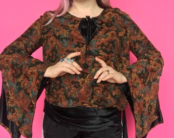 RARE 1920s Blouse / 20s Bell Sleeve Top / Witchy Silk Wool Patterned Shirt Angel Sleeve
