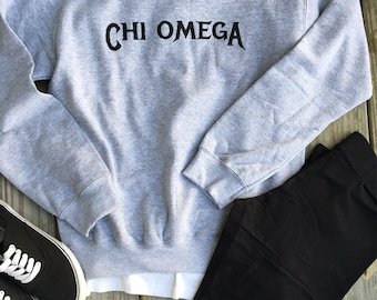 Officially Licensed Greek Rocker Crew Neck Sweatshirt - Chi Omega Sweatshirt