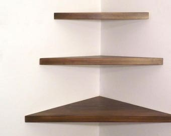 3 Pieces Set Floating Corner Shelves 1 Inch Thick with Ash Stain Handmade in the USA