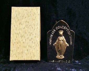 Vintage  Our Lady Of Grace Holy Water Bottle And Stand Unused In Original Box