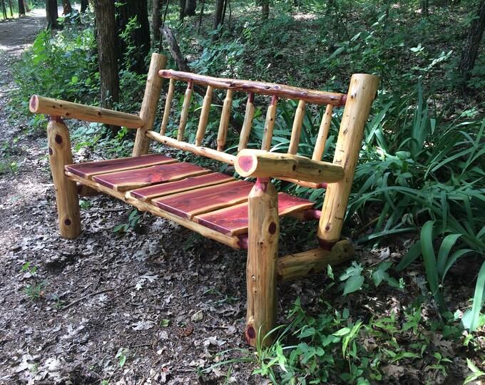 Free Shipping   4 Ft Rustic Log Patio Bench   Rustic Porch Bench   Cedar  Bench