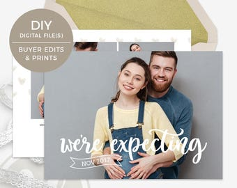 We're Expecting Announcement Card - Pregnancy Announcement Card, Photo Pregnancy Announcement, Printable Pregnancy Announcement Template