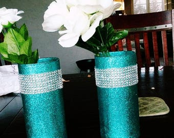 Delightful 5 Turquoise Wedding Centerpieces, Turquoise And Silver, Teal Centerpieces, Wedding  Decorations, Baby