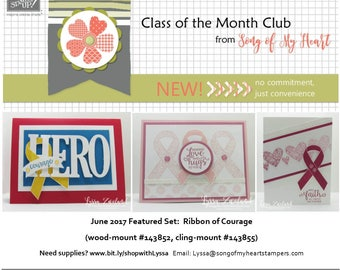 Class of the Month: Ribbon of Courage PLUS BONUS PDF Instant Digital Download Cardmaking Classes awareness breast cancer yellow ribbon hope