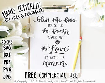 Bless the Food SVG Cut File, Bible Verse SVG, Dinner Prayer, Silhouette, Cricut Cutting File, Download, Dining Room Print, Prayer Blessing