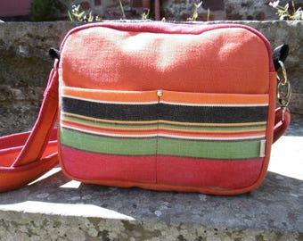 Small orange stripe cross shoulder bag