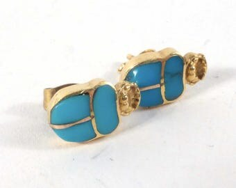 A Pair Of 18K Gold Turquoise Scarab Beetle Earrings
