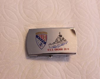 Vintage Navy Belt Buckle USS Chicago CG 11 Decommissioned in 01 March 1980