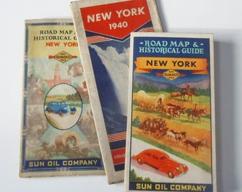 Maps of New York State / Vintage Driving Maps from the 1940's / Sunoco and Esso / Great gift for the vintage car guy