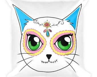 Day of the Dead Cat Square Pillow