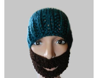 Made to Order Hand Knitted Child Youth Beanie Hat with Beard V5511