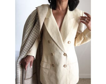 vintage union made checkered gingham double breasted notched collar boxy blazer