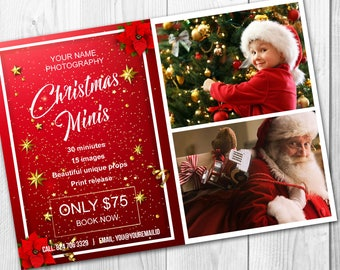 Christmas mini session template - Photography mini session marketing board - Photography marketing board - INSTANT DOWNLOAD