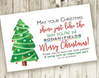 Christmas Thank You Card - Printable - Instant Download - Thankful - Holiday - Skin - Watercolor - Rodan and Fields