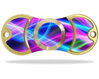 MightySkins Protective Vinyl Skin Decal for EDC Fidget Spinner Hand Spinner Toy Amilife Outdoo wrap cover sticker Light Waves