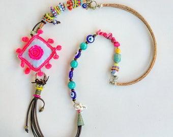 Bracelet and Necklace, Boho, Ethnic, Hippie necklace, Beach necklace, Rainbow necklace, Bohemian, long, beaded necklace, Gypsy jewelry
