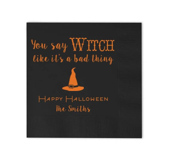 Halloween Napkins Personalized Cocktail Napkins Halloween Party Supplies Custom Beverage Napkins Halloween Decorations Cheers Witches