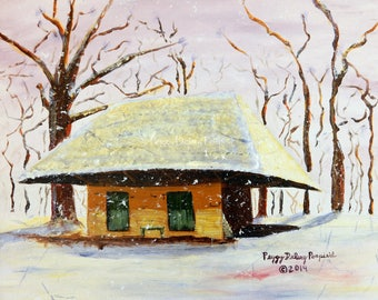 Winter Snow Scene, Southern Plantation, Melrose Plantation, African House, Wall Art, Prints,Impressionism, Southern Art, Louisiana Art