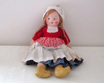 Vintage Hand Painted Cloth Doll