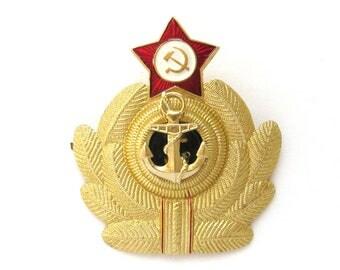 USSR Military Star Cockade, Hat badge, Navy, Officer, Hammer & Sickle, Vintage metal collectible badge, Soviet Vintage Pin, Made in USSR