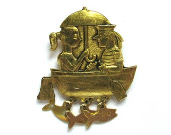 Boat with sailor and girl, Brooch, Rare Badge, Vintage collectible badge, Pin, Russia, Soviet Union, Made in USSR, 1980s