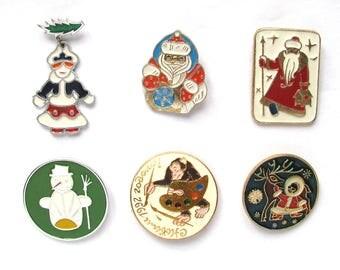 Happy New Year, Vintage metal children's badge, Escimo boy, Deer, Santa Claus, Snow maiden, Winter, Set, Soviet Vintage Pin, Made in USSR