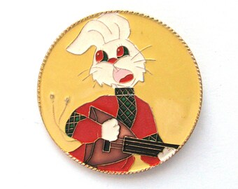 Hare with balalaika, Vintage metal collectible badge, Cartoon Animal, Soviet Vintage Pin, Made in USSR, 1980s