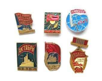 Soviet Badges, Pick up, Set, Communism, October Revolution, 1917, Vintage collectible badge, Soviet Vintage Pin, Soviet Union, Made in USSR