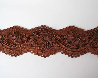 Light brown lace with pearls Ribbon
