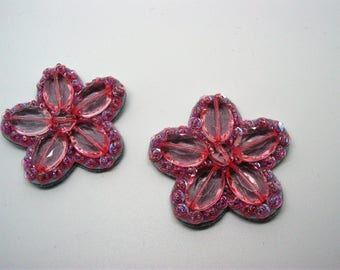 Set of 2 stone beads and pink glitter lined felt ref 6 hours