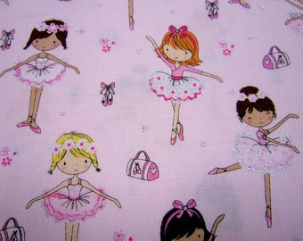 Pink Sparkle Ballerina Cotton Fabric by Timeless Treasures