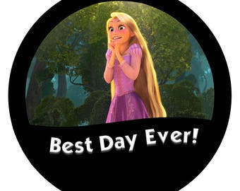 """Tangled: Rapunzel """"Best Day Ever!"""" 3 Inch Disney Button/Pin"""
