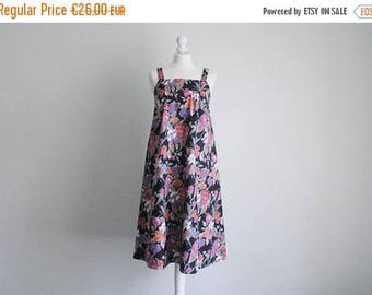 Size S/UK8 black floral cotton strap dress