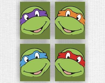 Teenage Mutant Ninja Turtles Art Prints, Ninja Turtles Set of 4, 8x10, Ninja Turtles INSTANT DOWNLOAD