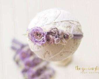 Lavender Newborn Headband: newborn photo prop; purple baby headband; girl headband prop; lilac photography prop; newborn photography prop