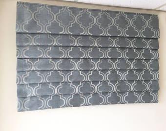 """Valance - Pleated Faux Roman Shade """"Selena Tiffany"""", Geometric pattern, Windows Treatment, Ready to made"""