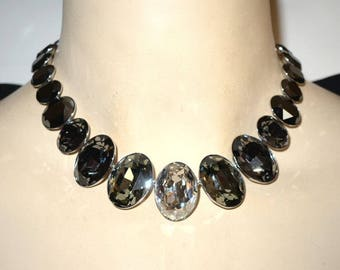 Dramatic Swarovski Clear and Gray Faceted Oval Crystal Satement Necklace