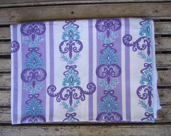 Vintage Purple and Blue Sheet - Single Bed -1970's - Floral - Dri-Glo - Made in Australia
