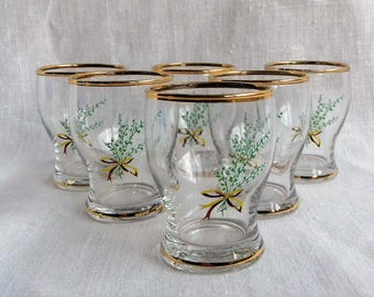 Set of Six Vintage Shot Glasses with Lucky White Heather