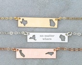 BFF Necklace Bar Necklace Friendship Gift • Jewelry State Necklace • Moving Gift Friend Jewelry Long Distance Friend Gift Travel