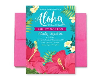 Tropical Bridal Shower Invitation, Tropical Baby Invite, Aloha Invite, Luau Invitation, Summer Bridal Shower, Hawaiian Invite