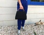 Black Studded Wood Top Handle Handbag, Top Handle Purse Black, Vintage Top Handle Bag Small, Vintage Black and Wood Purse